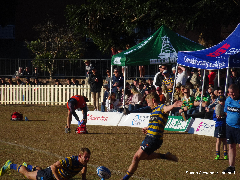 Sydney University's Stuart Dunbar takes the conversion. v Gordon, Chatswood Oval